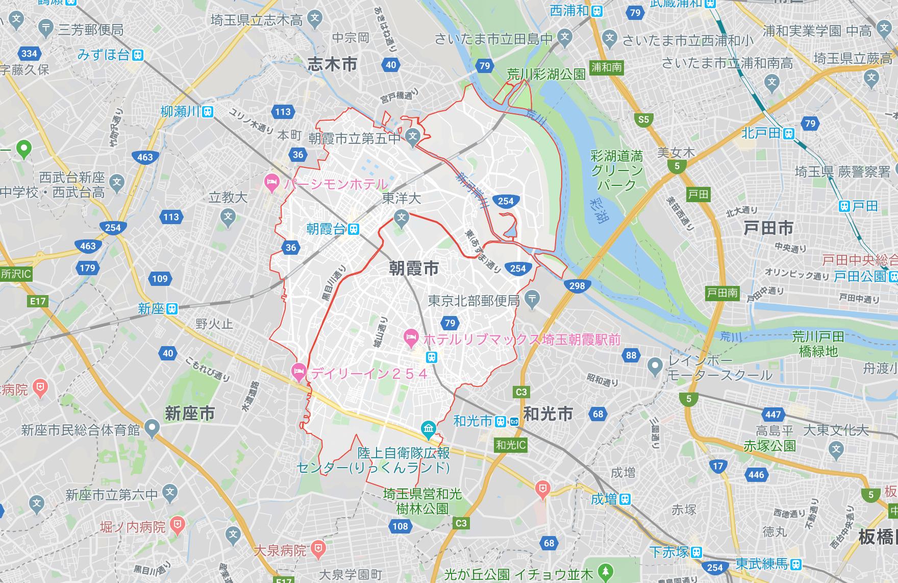 埼玉県朝霞市,地図