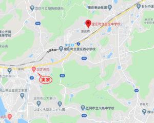 藤井風の里庄中学校の地図