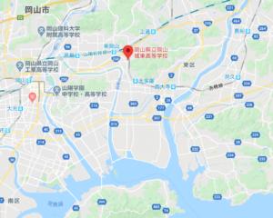 藤井風の岡山城東高等学校の地図