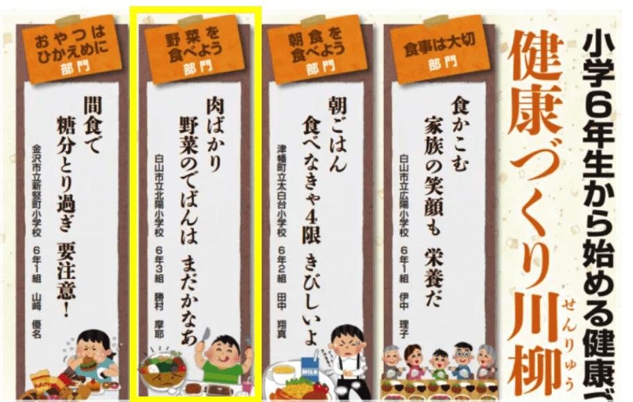 『小学6年生から始める健康づくり川柳』入賞者