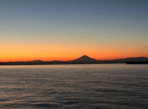 富津海水浴場の海岸線の絶景(富士山)