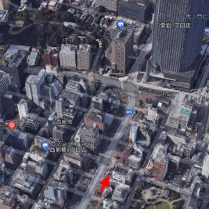 虎ノ門ヒルズ森タワー周辺の麗子と奈未のいた場所(航空写真)