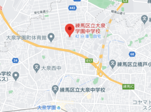 練馬区立大泉学園中学校の地図