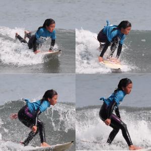 始めてサーフィンをした松田詩野の4ショット