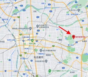 東邦高等学校の名古屋市東区の地図