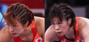 川井梨沙子と川井友香子のコーンロウ風に編み込んだ髪型